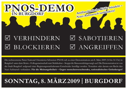 PNOS Demo Burgdorf & Nachdemo Bern
