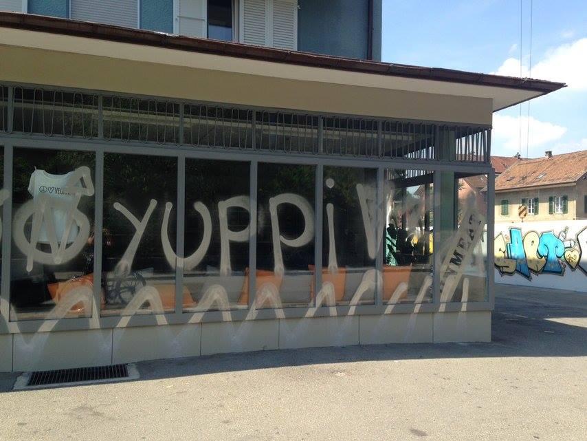 Glasbruch & Spray gegen Gentrifizierung Lorraine