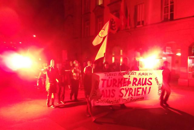 Spontandemo türkische Kriegshandlungen Rojava