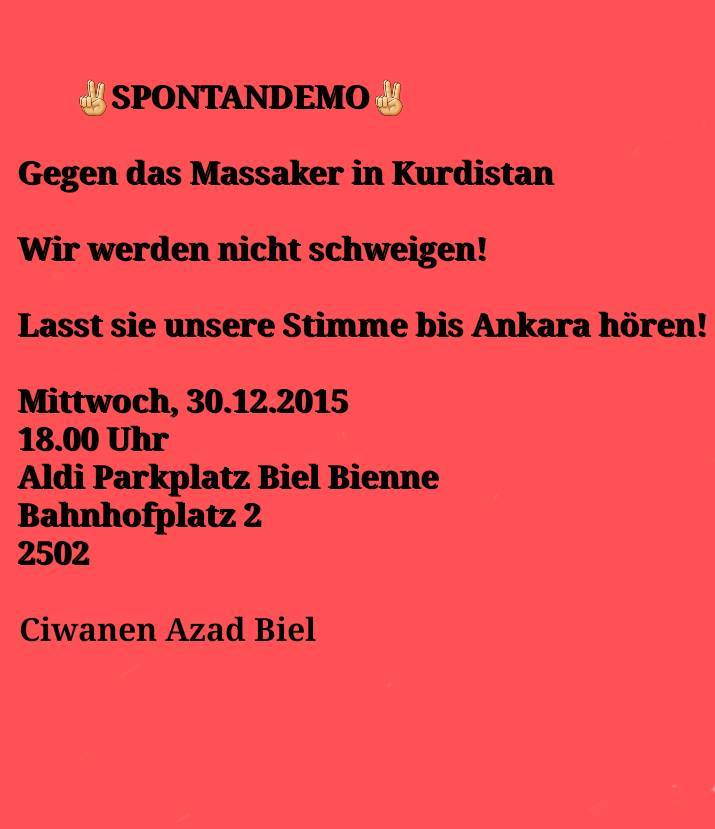 Spontandemo Massaker Kurdistan Biel