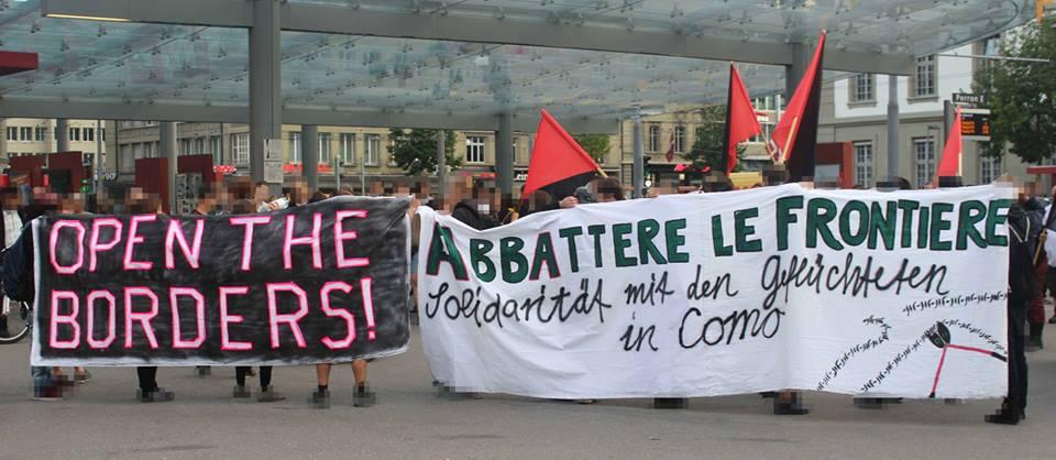 Spontandemo Solidarität mit Geflüchteten Como