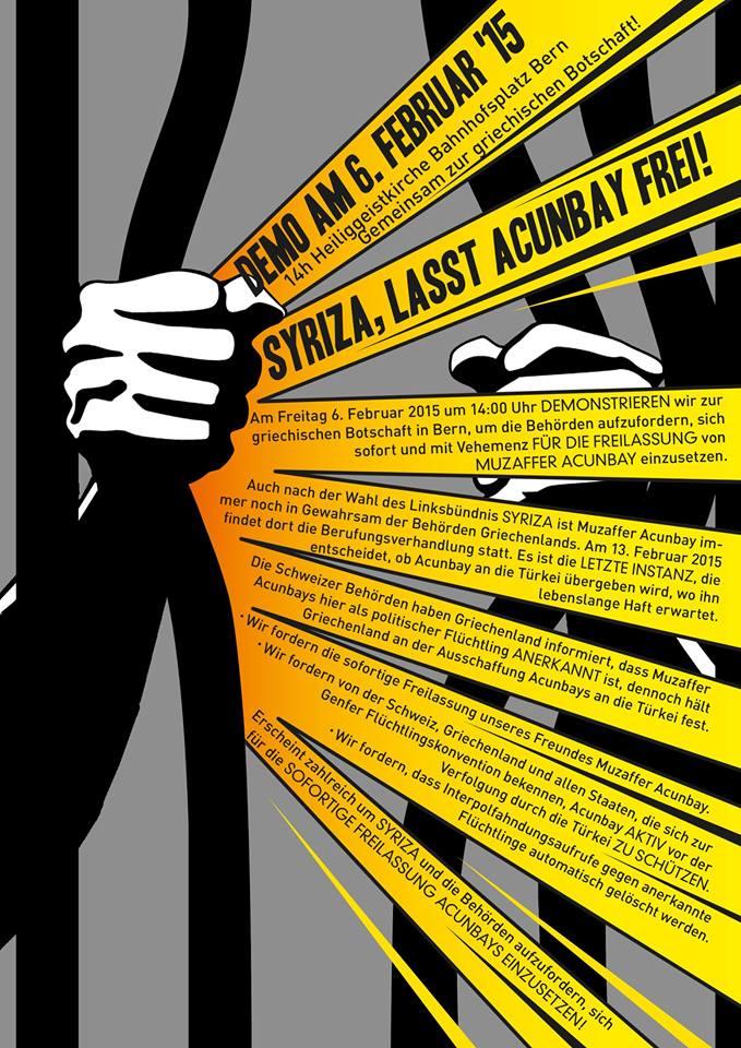 Demo Syriza, lasst Acunbay frei