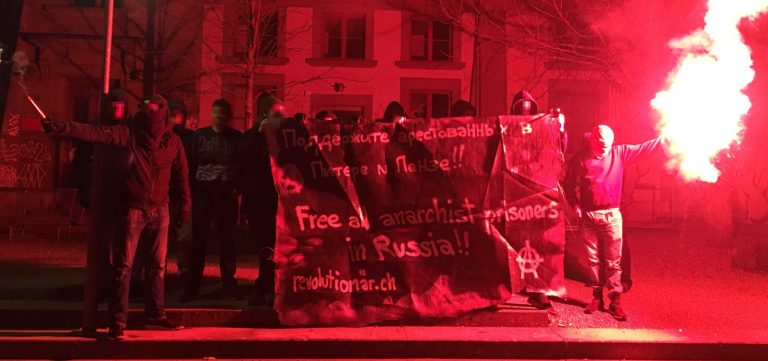 Transpiaktion Anarchist*innen Russland