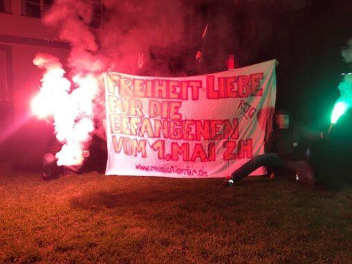 Transpiaktion Solidarität Gefangene 1. Mai