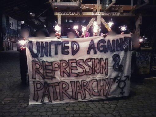 Transpiaktion gegen Repression Zürich & Patriarchat